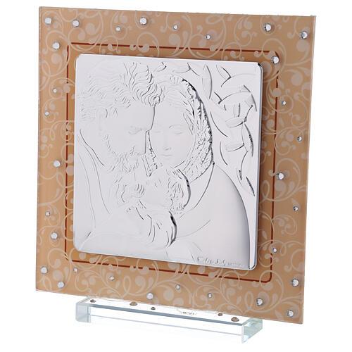 Quadretto Sacra Famiglia bilaminato vetro Murano ambra 17x17 cm 2