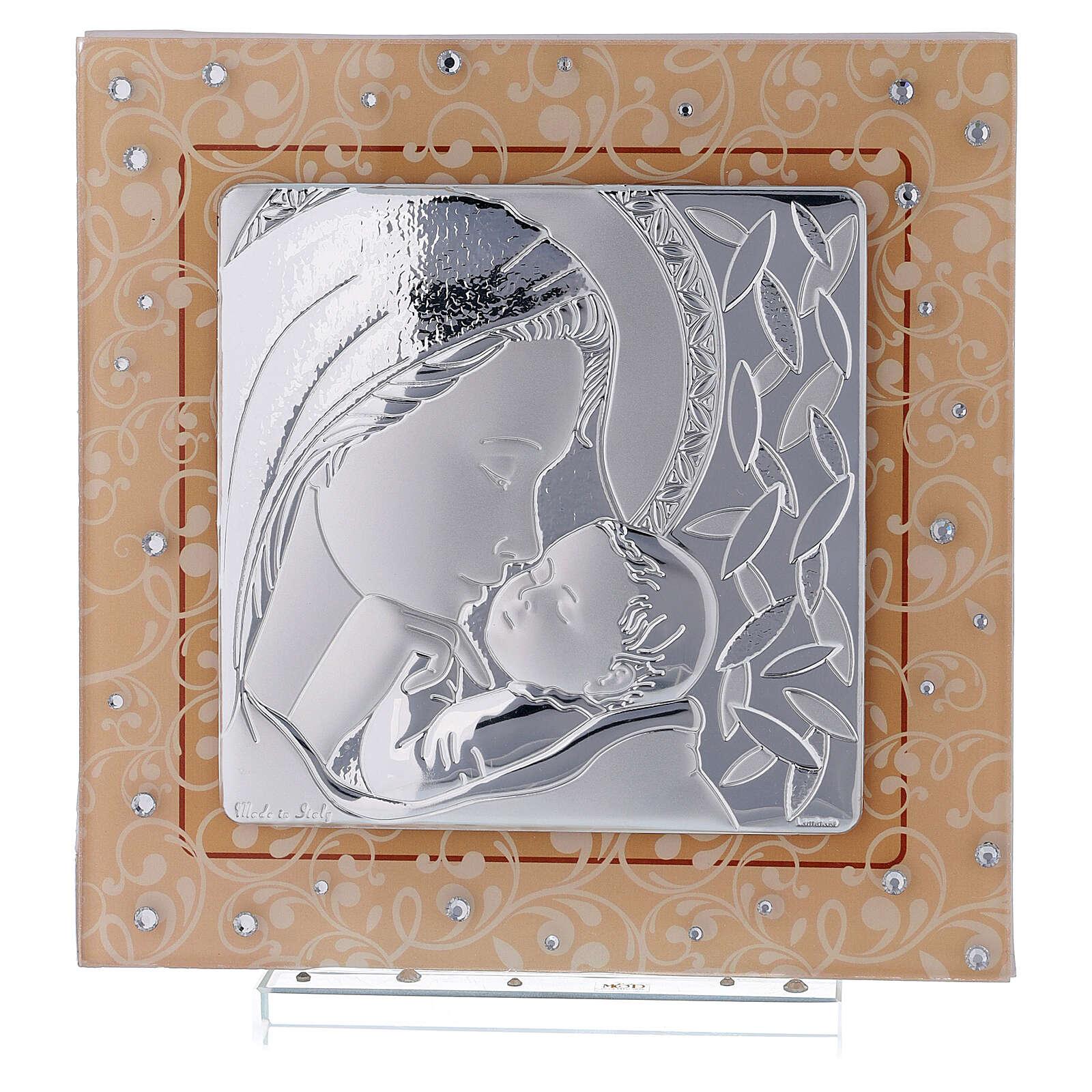 Cadre Maternité baptême Vierge à l'Enfant verre Murano ambre 3