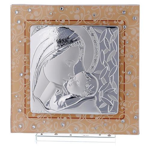 Cadre Maternité baptême Vierge à l'Enfant verre Murano ambre 1