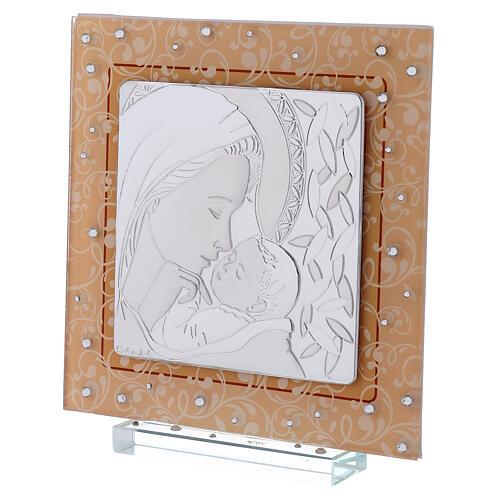 Cadre Maternité baptême Vierge à l'Enfant verre Murano ambre 2