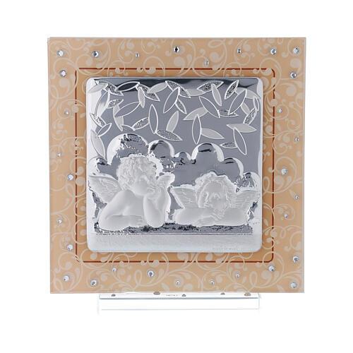 Cuadrito Ángeles plata vidrio Murano ámbar cuentas strass 17x17 cm 1