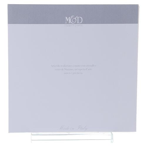 Cuadrito Ángeles plata vidrio Murano ámbar cuentas strass 17x17 cm 3