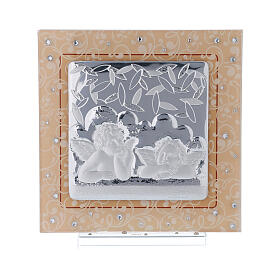 Cadre anges argent verre Murano ambre strass 17x17 cm s1