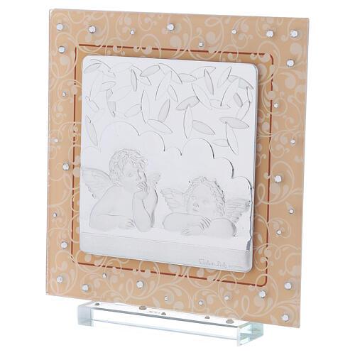 Cadre anges argent verre Murano ambre strass 17x17 cm 2