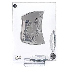 Cuadrito Primera Comunión niña reza lámina plata 7x5 cm s1