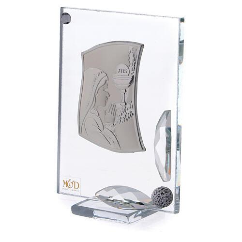 Cuadrito Primera Comunión niña reza lámina plata 7x5 cm 2