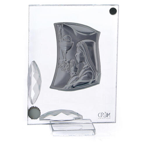 Cuadrito Primera Comunión niña reza lámina plata 7x5 cm 3
