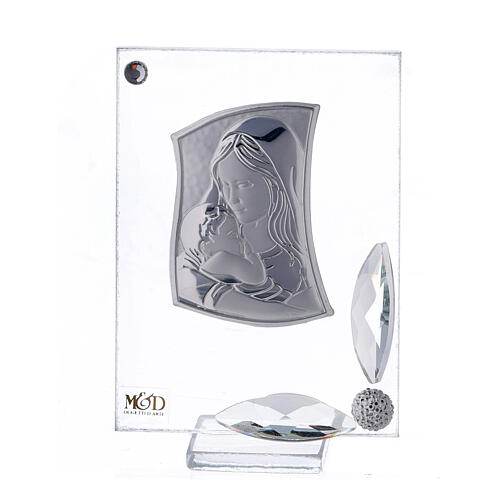 Cuadrito lámina plata Maternidad Bautismo 7x5 cm 1