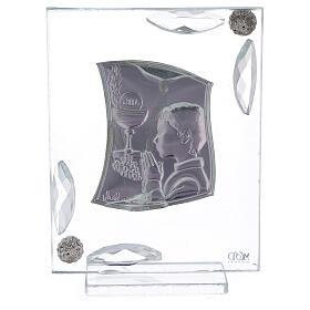 Cuadrito Comunión niño lámina plata oración cáliz 10x7 cm s3