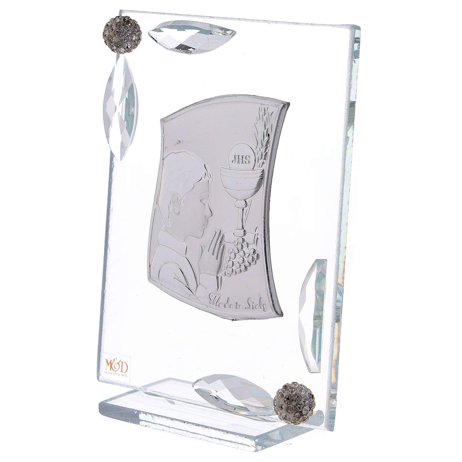 Quadretto Comunione bimbo lamina argento preghiera calice 10x7 cm 3