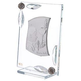 Quadretto Comunione bimbo lamina argento preghiera calice 10x7 cm s2