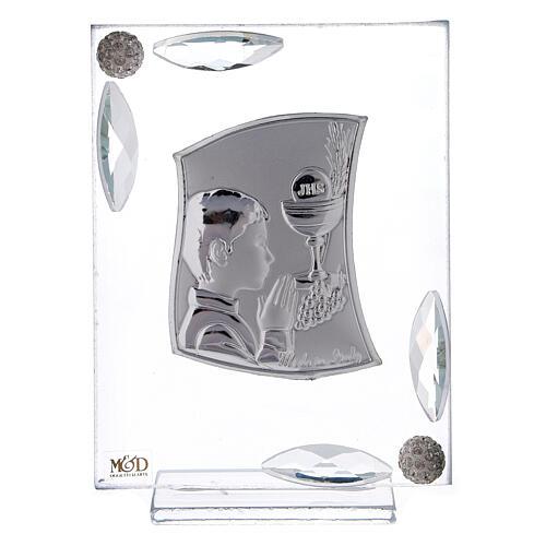 Quadretto Comunione bimbo lamina argento preghiera calice 10x7 cm 1