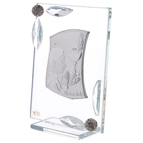 Quadretto Comunione bimbo lamina argento preghiera calice 10x7 cm 2