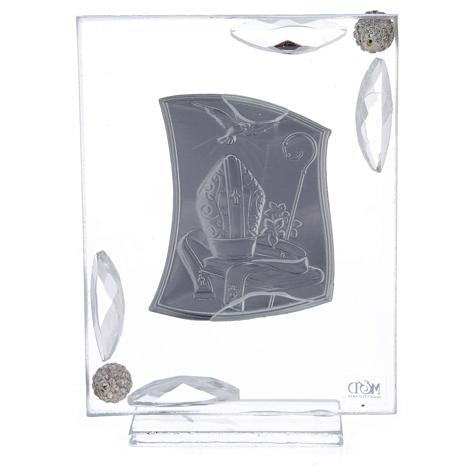 Cuadrito Confirmación lámina plata símbolos episcopales 10x7 cm 3