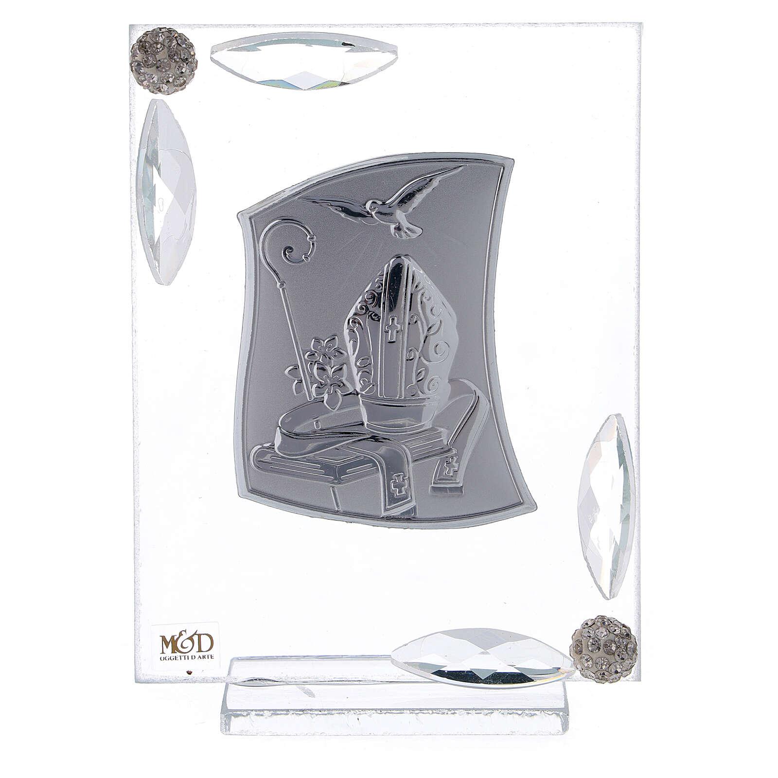 Quadretto Cresima lamina argento simboli episcopali 10x7 cm 3