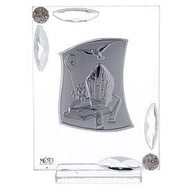 Quadretto Cresima lamina argento simboli episcopali 10x7 cm s1