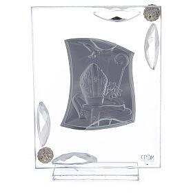 Quadretto Cresima lamina argento simboli episcopali 10x7 cm s3