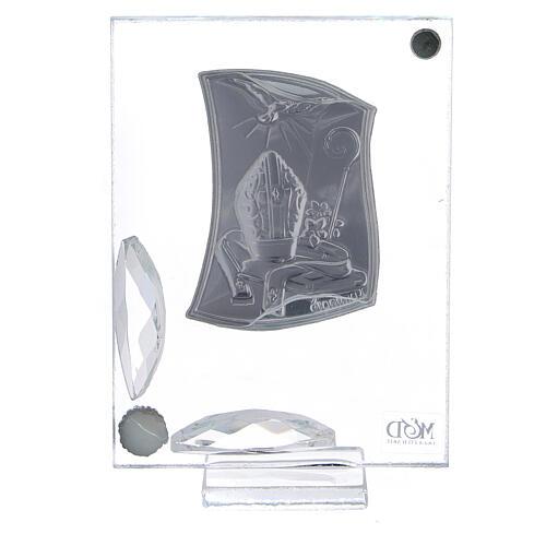 Quadretto Cresima mitra pastorale colomba bilaminato e cristalli 3