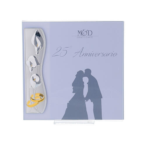 Portafoto nozze d'argento 17x17 cm fedi intrecciate 1