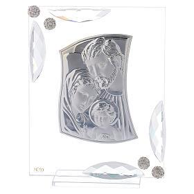 Cuadrito bilaminado plata Sagrada Familia con cristales 15x10 s1