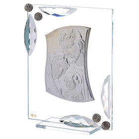 Cuadrito bilaminado plata Sagrada Familia con cristales 15x10 s2