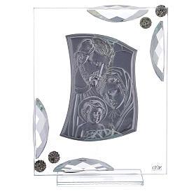 Cuadrito bilaminado plata Sagrada Familia con cristales 15x10 s3