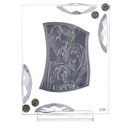 Cuadrito bilaminado plata Sagrada Familia con cristales 15x10 3