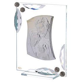 Quadretto bilaminato argento Sacra Famiglia con cristalli 15x10 s2