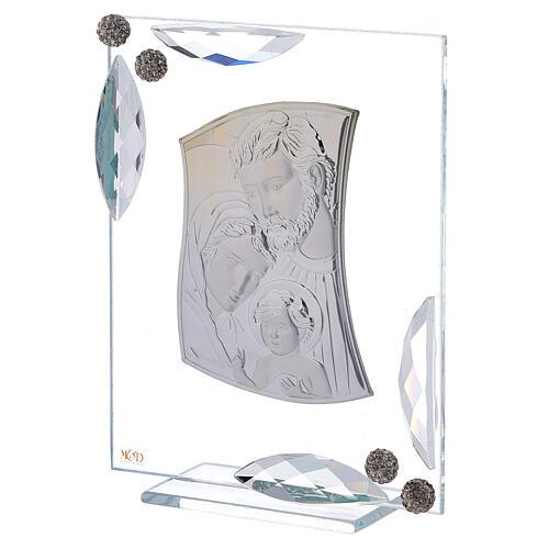 Quadretto bilaminato argento Sacra Famiglia con cristalli 15x10 2