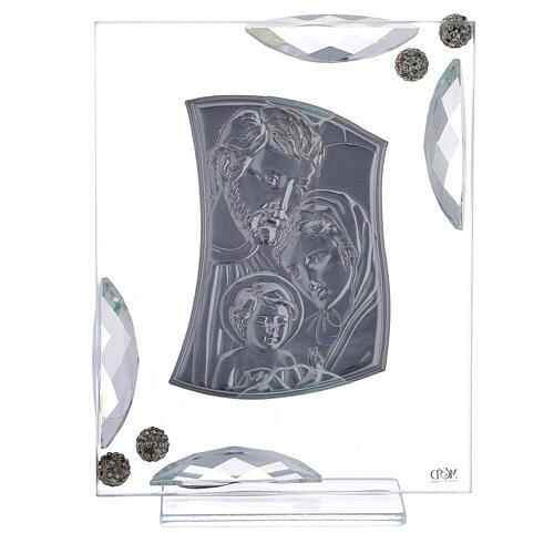 Quadretto bilaminato argento Sacra Famiglia con cristalli 15x10 3