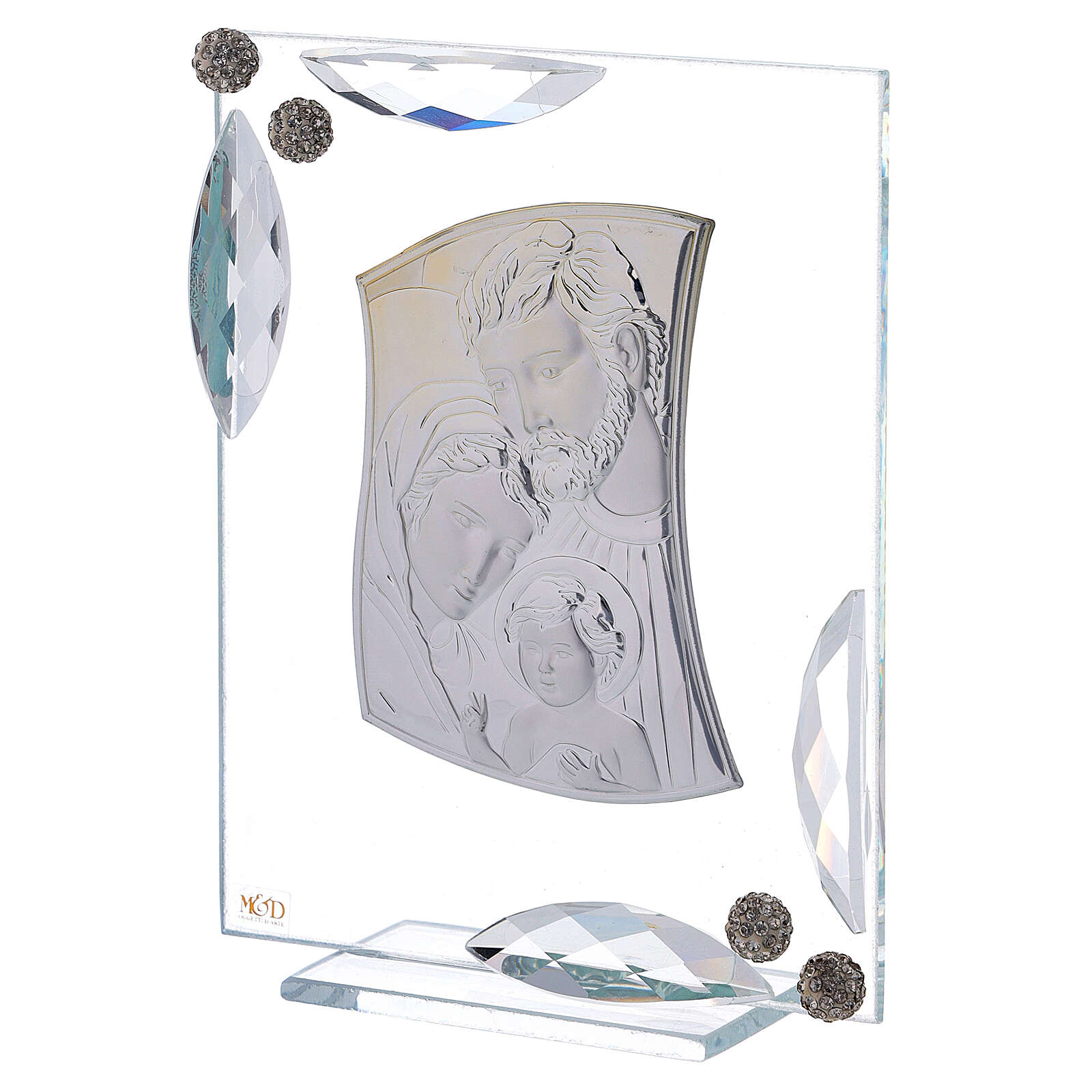 Picture double laminated silver Holy Family with crystals 6x4 in 3