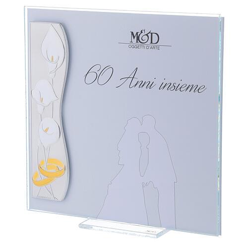 Portarretrato bodas de diamante 17x17 cm flores calas 2