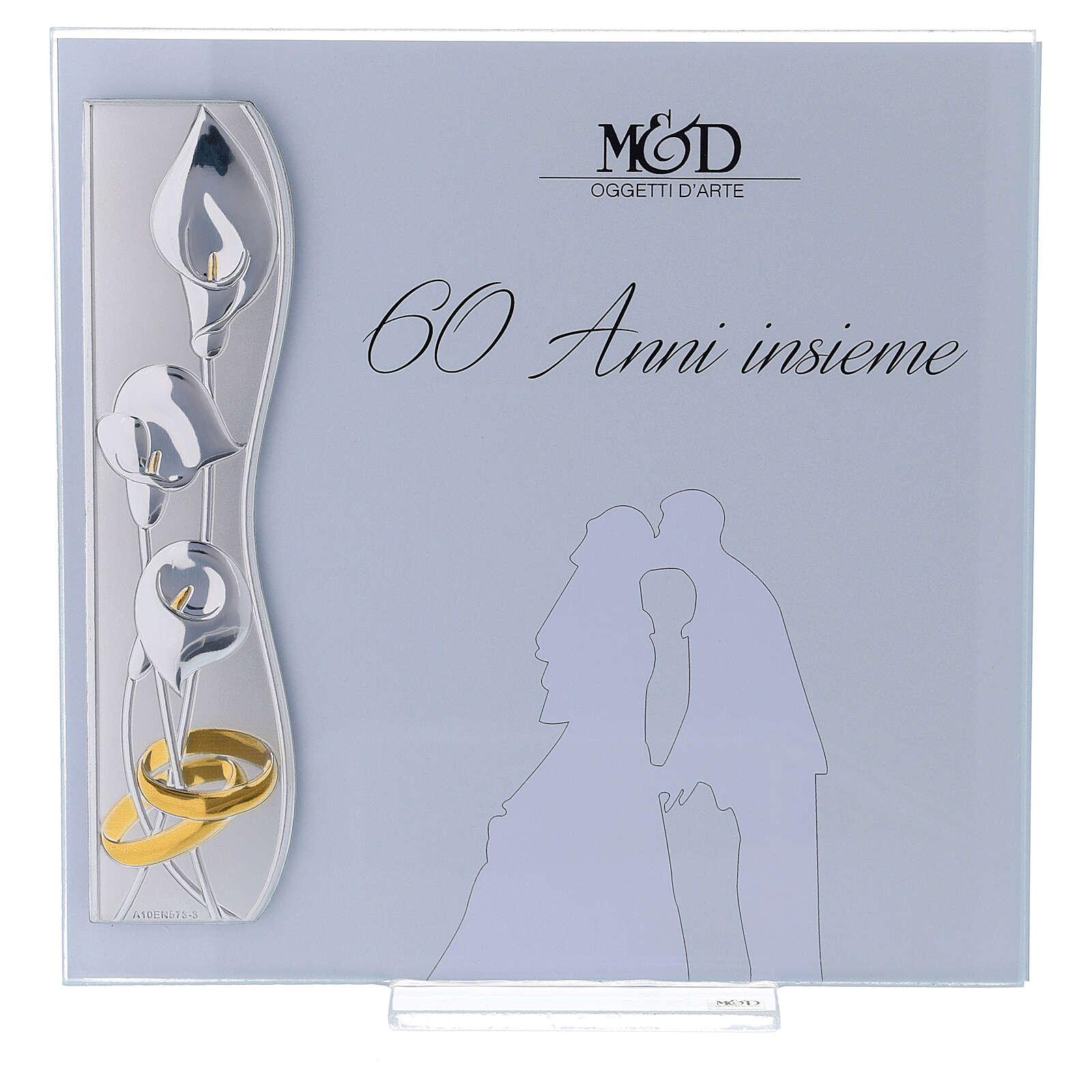 Portafoto nozze di diamante 17x17 cm fiori di calla 3
