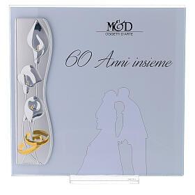 Portafoto nozze di diamante 17x17 cm fiori di calla s1