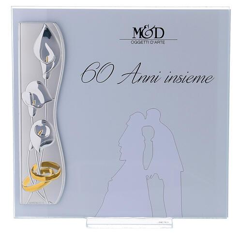 Portafoto nozze di diamante 17x17 cm fiori di calla 1