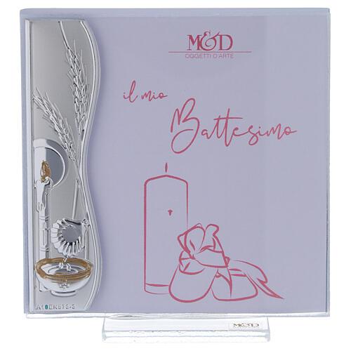 Porte-photo 10x10 cm Baptême rose idée-cadeau feuille argent 1