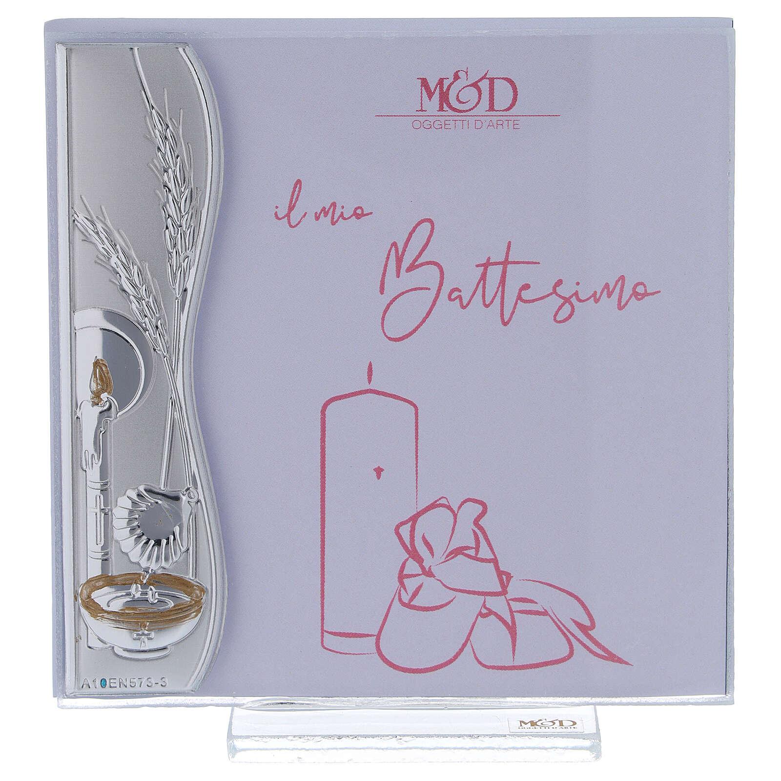 Portafoto 10x10 cm Battesimo rosa idea regalo argento laminato 3