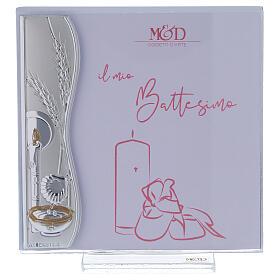 Porta-fotografia 10x10 cm Batismo cor-de-rosa dica de presente prata laminada s1