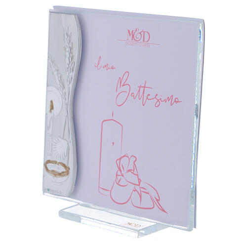 Porta-fotografia 10x10 cm Batismo cor-de-rosa dica de presente prata laminada 2