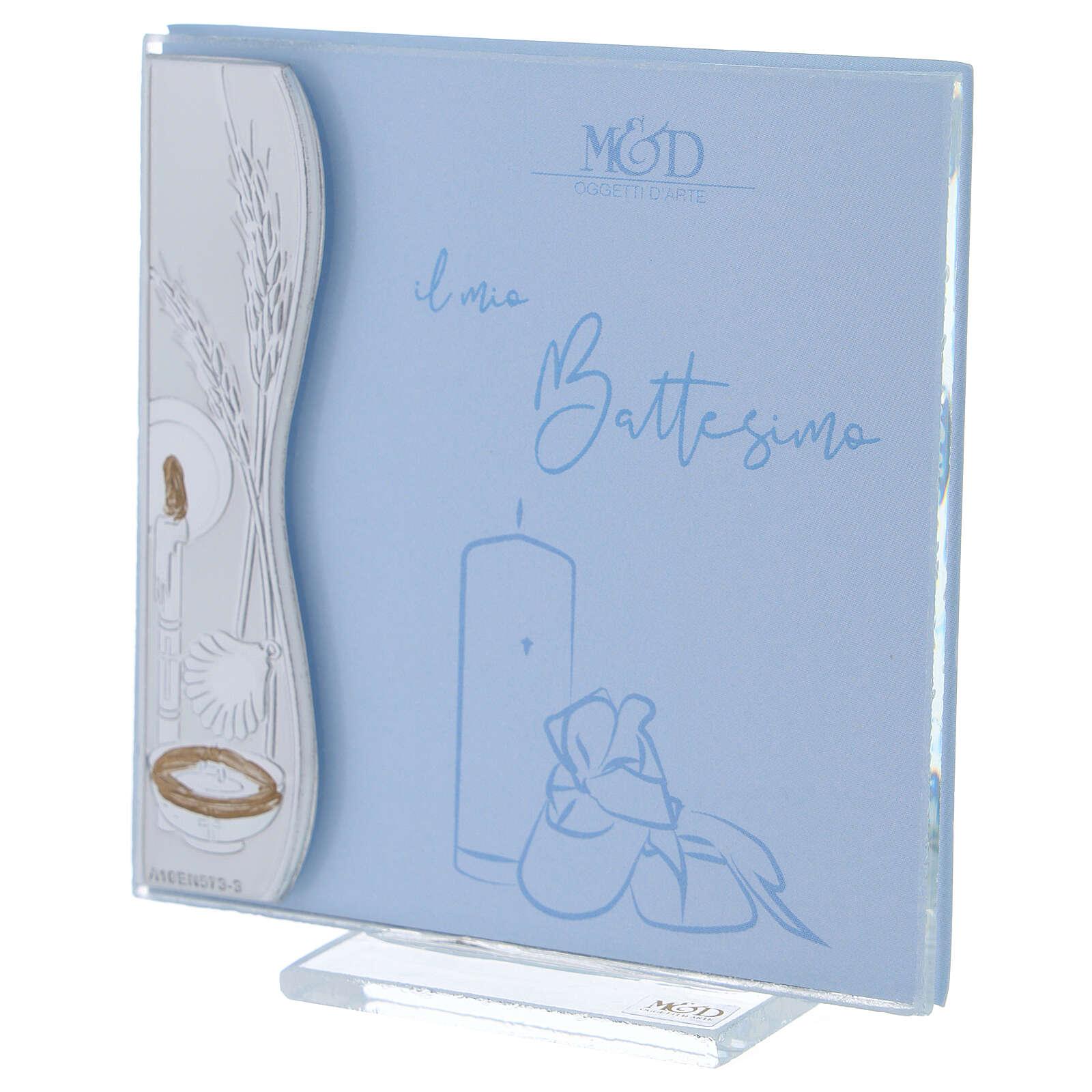 Porte-photo baptême argent bilaminé bleu 10x10 cm 3