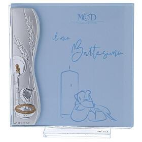 Porte-photo baptême argent bilaminé bleu 10x10 cm s1