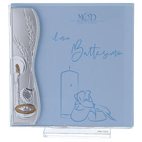 Portafoto battesimo bilaminato argento e celeste 10x10 cm s1