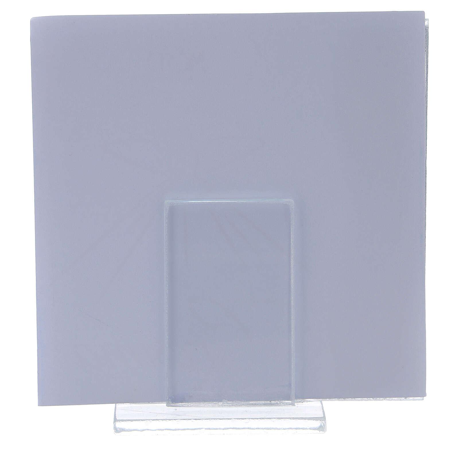 Portarretrato Sagrada Confirmación rosa con marco lámina plata 10x10 cm 3