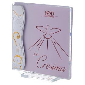 Portarretrato Sagrada Confirmación rosa con marco lámina plata 10x10 cm s2
