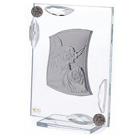 Cuadrito Ángel Bautismo lámina de plata 10x7 cm s2