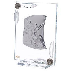 Cuadrito Ángel Bautismo lámina de plata 10x7 cm s6