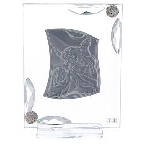 Cuadrito Ángel Bautismo lámina de plata 10x7 cm s7