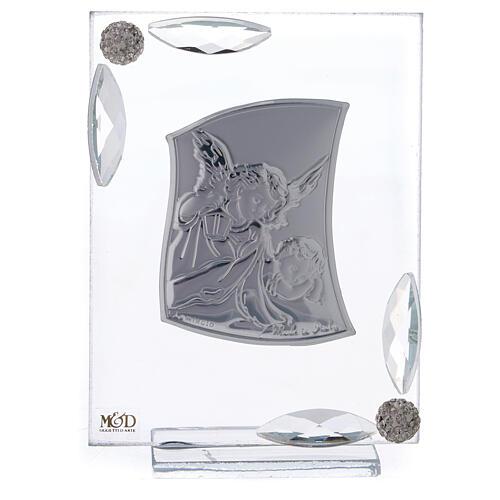 Cuadrito Ángel Bautismo lámina de plata 10x7 cm 1
