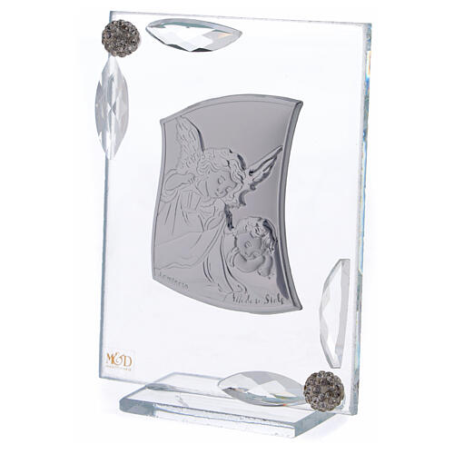 Cuadrito Ángel Bautismo lámina de plata 10x7 cm 2