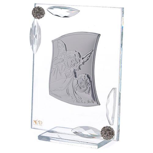 Cuadrito Ángel Bautismo lámina de plata 10x7 cm 6